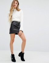 Honey Punch Mini Faux Leather Skirt With Zips