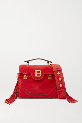 Balmain Bbuzz Medium Fringed Suede Shoulder Bag - Red