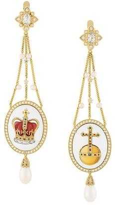 Axenoff Jewellery crown & sovereign's orb drop earrings