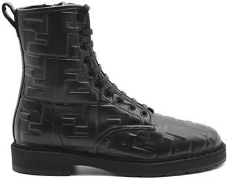 Fendi Black Leather Ankle Biker Boots