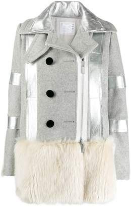 Sacai faux fur trimmed wool coat