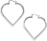 Sterling Silver 1.38'' Heart Hoop Earrings