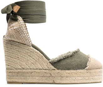 Castaner Open Toe Wedge-Heeled Espadrille With Ankle Ties