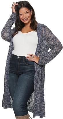 American Rag Juniors' Plus Size Long Sleeve Hoodie Cardigan