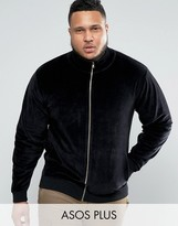 Asos PLUS Jersey Track Jacket In Velour