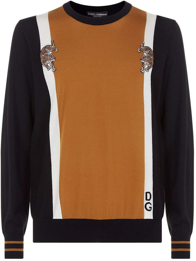 Dolce & Gabbana Applique Leopard Wool Sweater