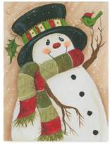 Trademark Fine Art Beverly Johnston 'Snowman With Green Bird' Canvas Art