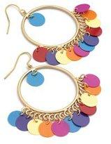 Avalaya Multicoloured Sequin Hoop Earrings (Matte Gold Tone) - 3.5cm Diameter