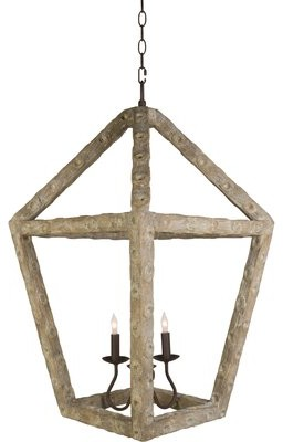 Aidan Gray Oyster 3 - Light Lantern Geometric Chandelier