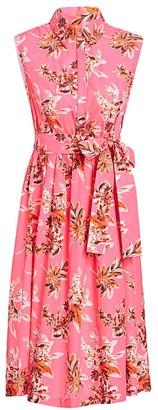 Lela Rose Wildflower-Print Cotton Shirtdress
