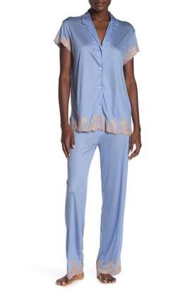 Josie Natori Notch Collar Shirt & Lounge Pants Pajama 2-Piece Set