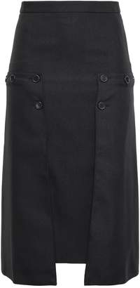 Rokh Asymmetric Layered Pleated Button-embellished Twill Skirt