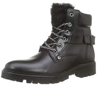 Trussardi Jeans Women's Combat Boot Eco Fur Ankle (Black K299)