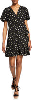 Jill Stuart Floral Embroidered Short-Sleeve Mini Wrap Dress