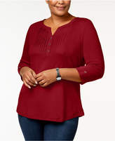Karen Scott Plus Size Cotton Pleated Henley Top, Created for Macy's