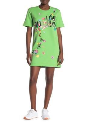 Love Moschino Floral Ant Logo Short Sleeve Sweatshirt Dress