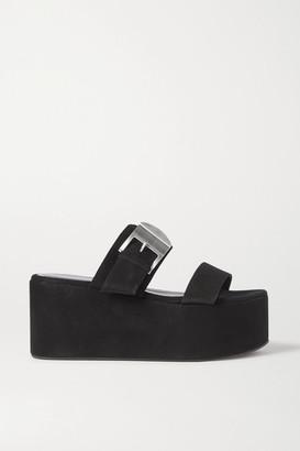 Simon Miller Coaster Buckled Suede Platform Sandals - Black