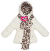 Pink Platinum Cream Solid Cheetah Puffer Jacket Set - Toddler & Girls
