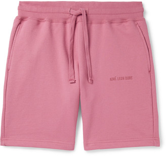 Aimé Leon Dore Logo-Embroidered Loopback Cotton-Jersey Drawstring Shorts - Men - Pink
