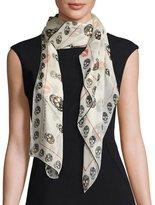 Alexander McQueen Skulls & Kisses Silk Scarf, White/Black