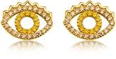 Kenzo Goldtone Mini Eye Earrings w/Crystals