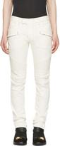 Balmain Off-White Slim Biker Jeans