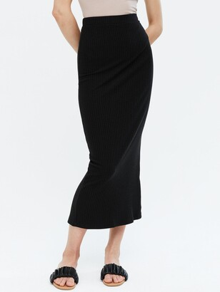 New Look Ribbed Midi Skirt - Black