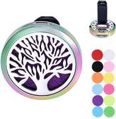 Tornado Tree of Life Aromatherapy Car Air Freshener Stainless Steel Essential Oil Diffuser Locket Vent Clip 12 Refill Pads