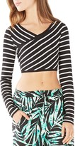 BCBGMAXAZRIA Brinli Crisscross Striped Crop Top