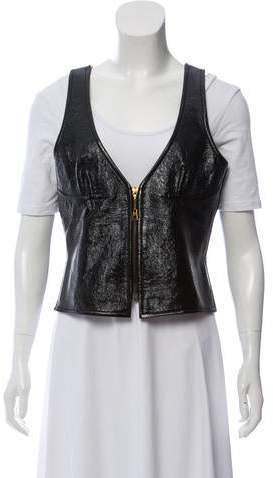 622895273f1 Zip-Up Leather Vest