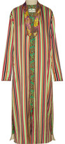 Etro Jacquard-trimmed Striped Cotton And Silk-blend Jacket - Green