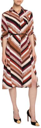 Altuzarra Chevron-Striped Silk Shirtdress
