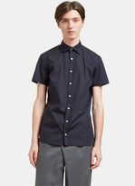 Kolor Men's Embroidered Short Sleeved Poplin Shirt In Navy