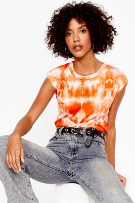 Nasty Gal Womens It's Not All Shoulder Pad Tie Dye Tee - Orange