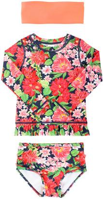RuffleButts Girl's Floral Rash Guard Bikini w/ Headband, Size 3M-10