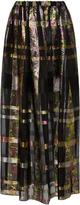 Cynthia Rowley metallic plaid Maxi Skirt