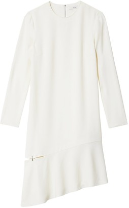 Tibi Triacetate Shift Dress with Detached Hem in Ivory