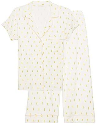 Eberjey Giving PJ Short Sleeve Cropped PJ Set (Pineapples/Bellini) Women's Pajama Sets