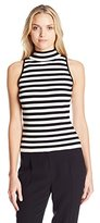 Milly Women's High Neck Stripe Tank
