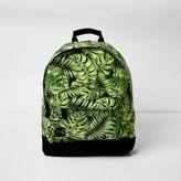 River Island Mens Black Mi-Pac leaf print backpack
