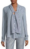 Karl Lagerfeld Striped Tie-Neck Blouse