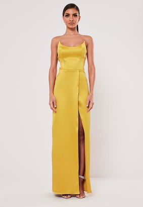 Missguided Mustard Satin Split Maxi Dress