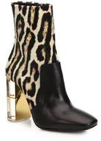 Roberto Cavalli Leopard-Print Calf Hair & Leather Lucite Heel Booties