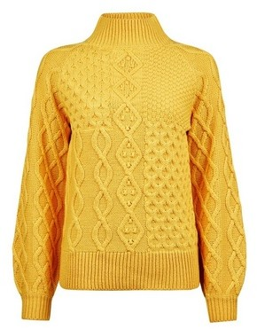 Dorothy Perkins Womens Yellow High Neck Cable Jumper
