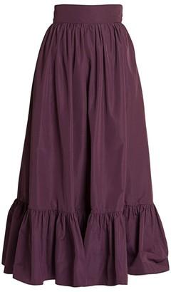 Valentino Micro Faille Ruffle-Hem Maxi Skirt