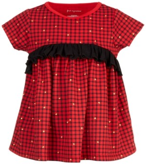 First Impressions Toddler Girls Holiday Check Ruffle Tunic, Created for Macy's