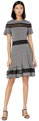 MICHAEL Michael Kors Cheeky Check Mix Short Sleeve Dress (White) Women's Dress