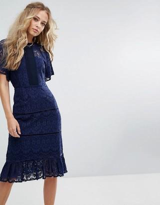 Foxiedox Lace Panel Midi Dress-Navy