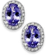 Macy's Tanzanite (1 ct. t.w.) and Diamond (1/8 ct. t.w.) Oval Stud Earrings in 14k White Gold