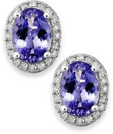 Macy's Tanzanite (1 ct. t.w.) and Diamond (1/8 ct. t.w.) Oval Stud Earrings in 14k White Gold